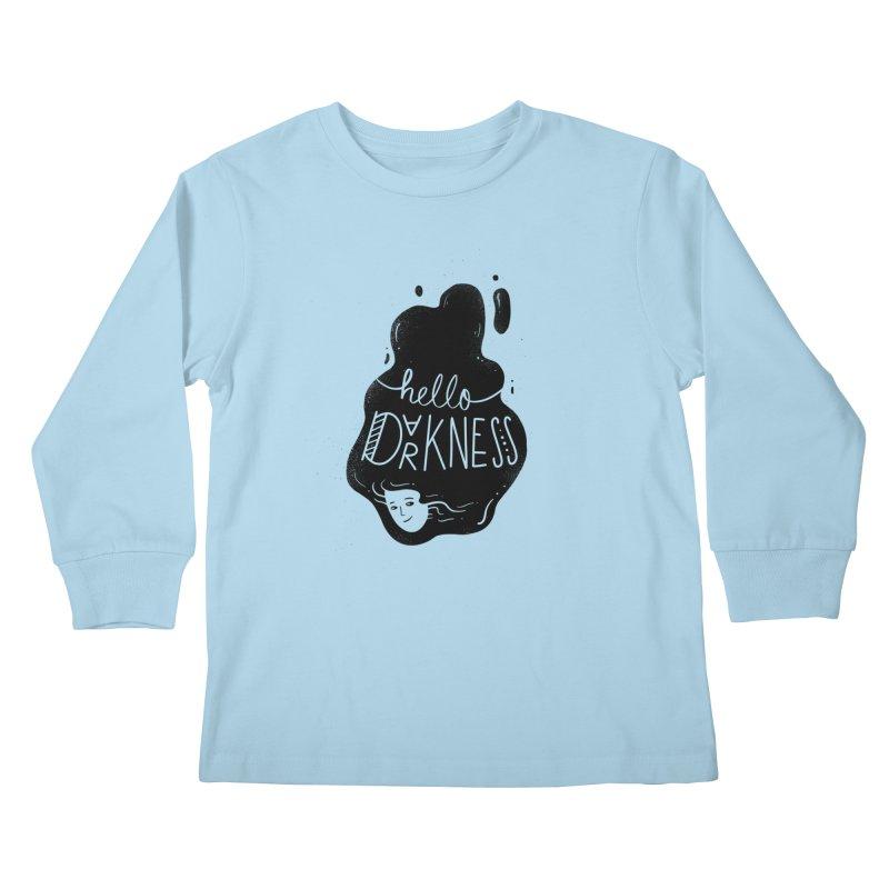 Hello darkness Kids Longsleeve T-Shirt by Arkady's print shop