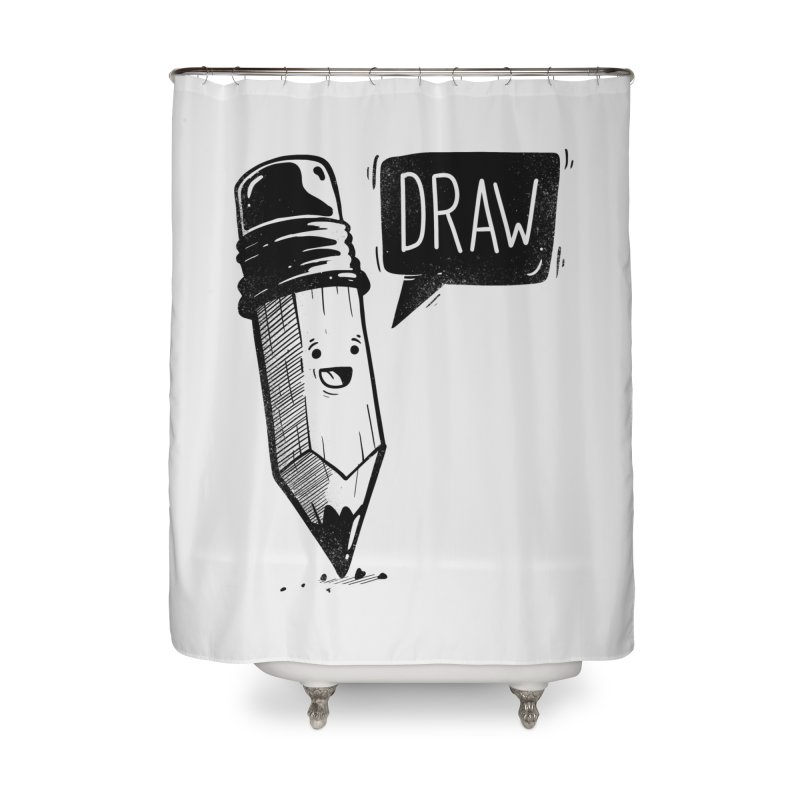 Draw Home Shower Curtain by Arkady's print shop