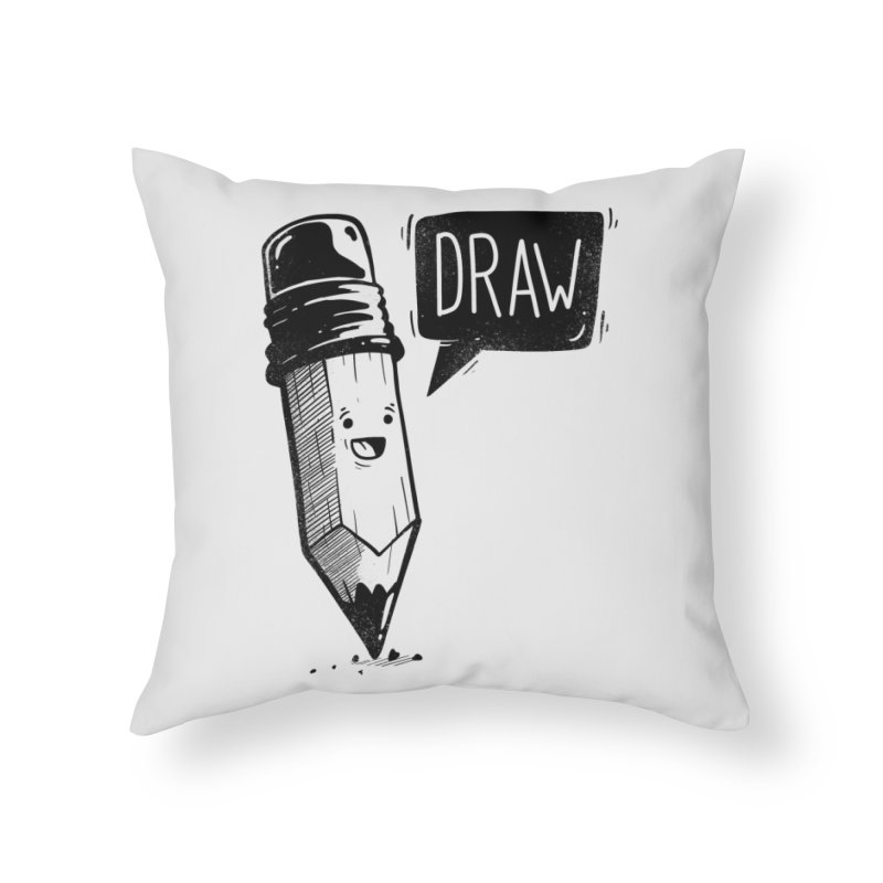 Draw Home Throw Pillow by Arkady's print shop