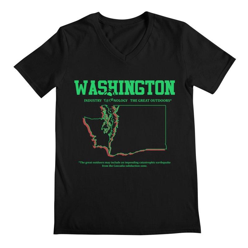 Washington! (and the impending earthquake.) Men's V-Neck by Arlen Pringle