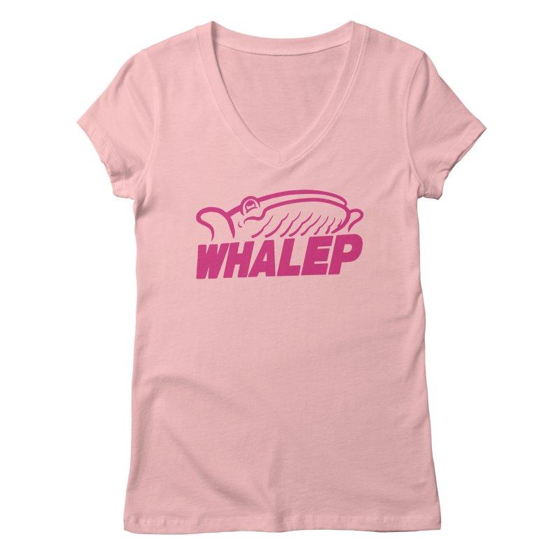 WHALEP (Pink Linework) Women's V-Neck by Arlen Pringle