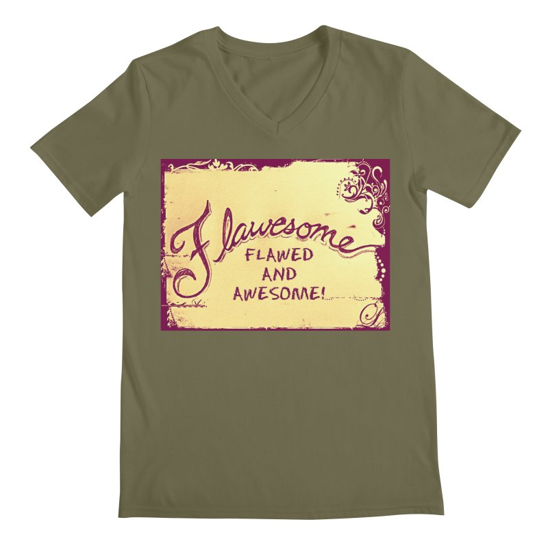 Flawesome - Flawed AND Awesome! Men's Regular V-Neck by Armando's Artist Shop