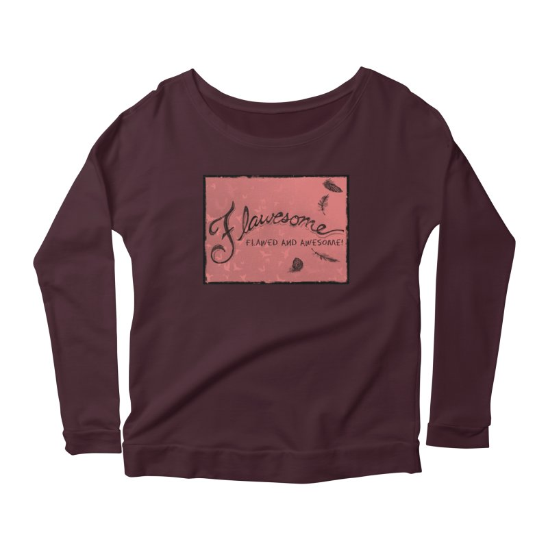 Flawesome - Feathers in Women's Scoop Neck Longsleeve T-Shirt Dark Purple by Armando's Artist Shop