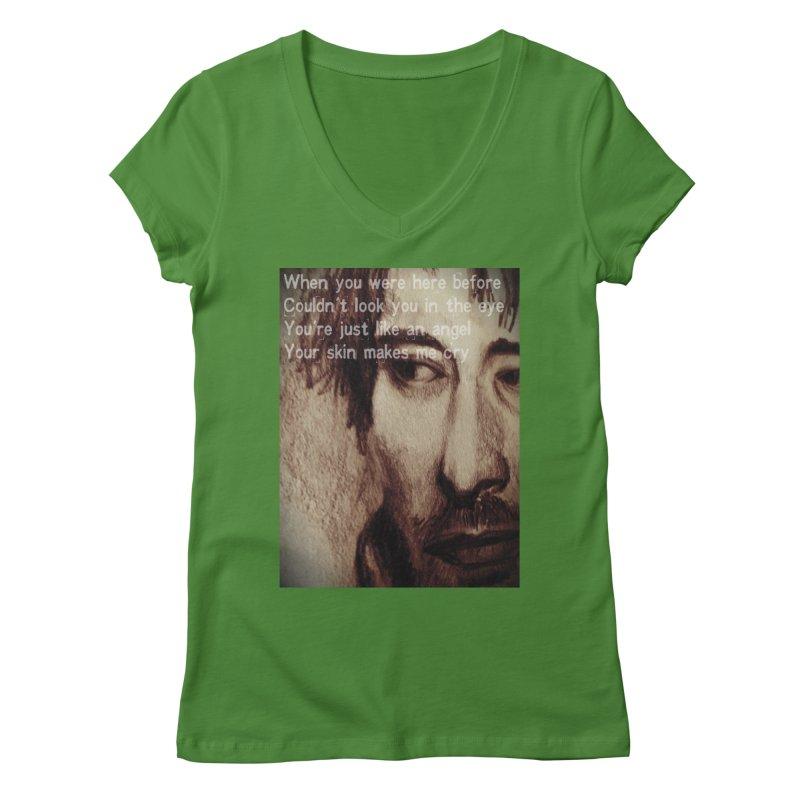 ROCKFACE: Thom Yorke Women's Regular V-Neck by Armando's Artist Shop