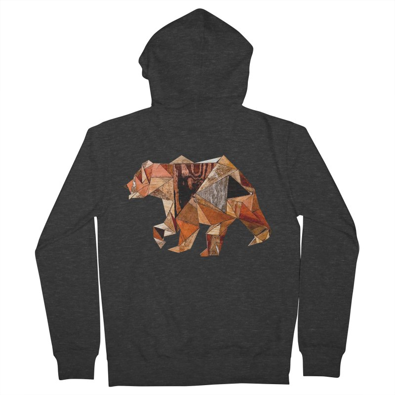 Bear Walking In The Wood Men's French Terry Zip-Up Hoody by Armando's Artist Shop
