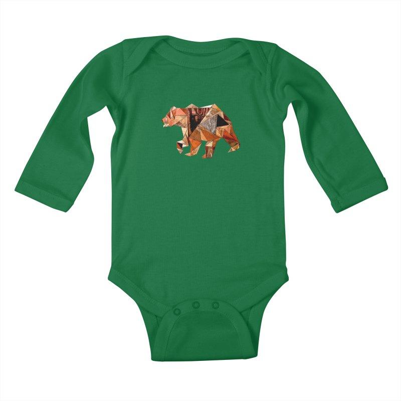 Bear Walking In The Wood Kids Baby Longsleeve Bodysuit by Armando's Artist Shop