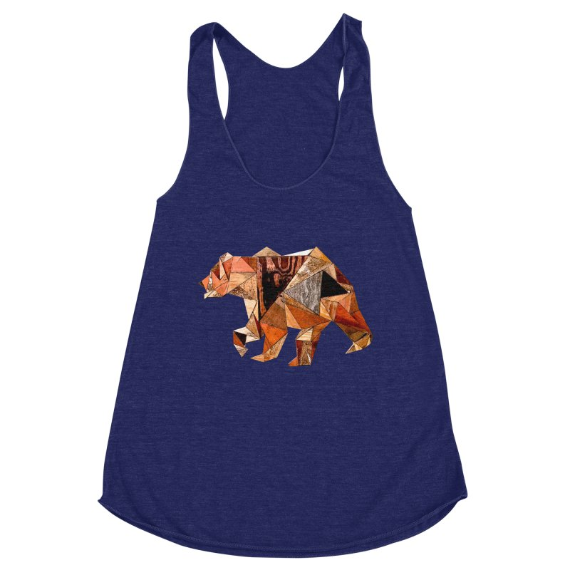 Bear Walking In The Wood Women's Racerback Triblend Tank by Armando's Artist Shop