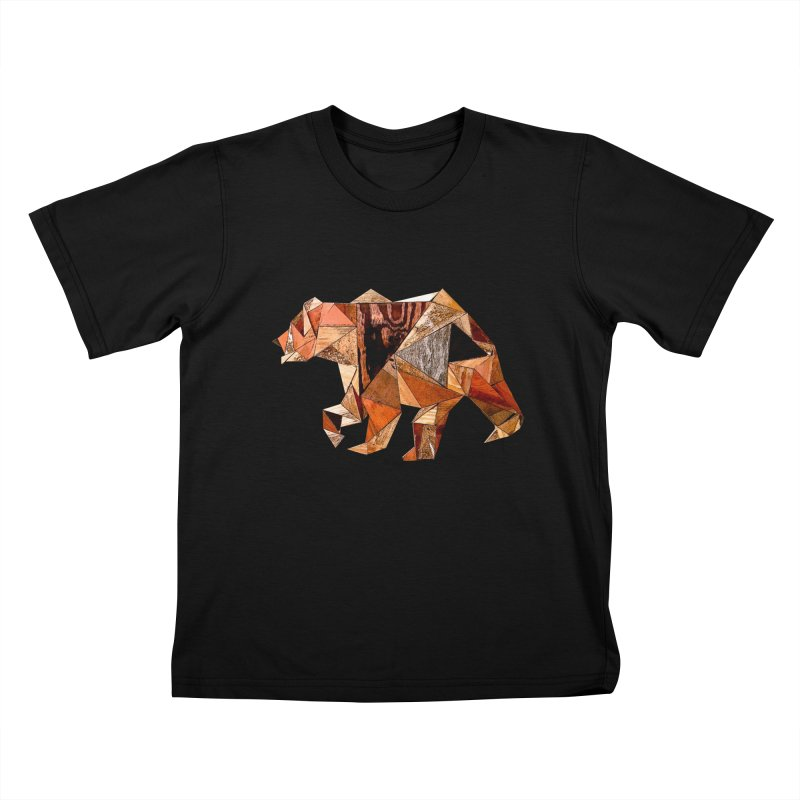 Bear Walking In The Wood Kids T-Shirt by Armando's Artist Shop