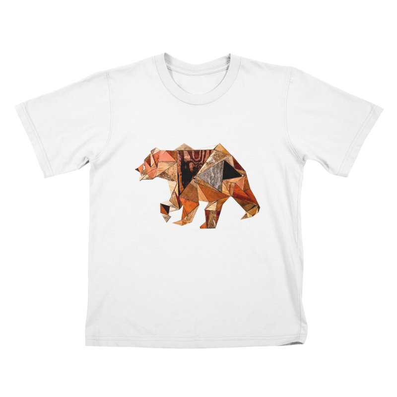 Bear Walking In The Wood Kids T-Shirt by Armando's Artist Shop