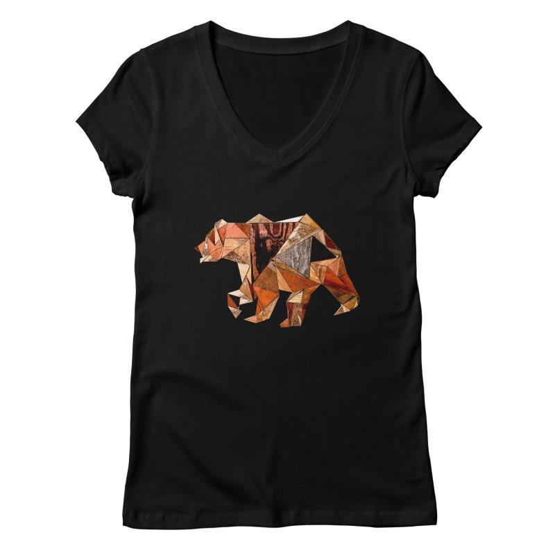 Bear Walking In The Wood Women's V-Neck by Armando's Artist Shop