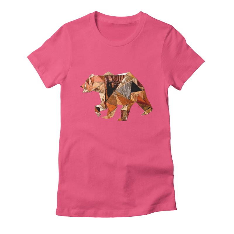 Bear Walking In The Wood Women's Fitted T-Shirt by Armando's Artist Shop
