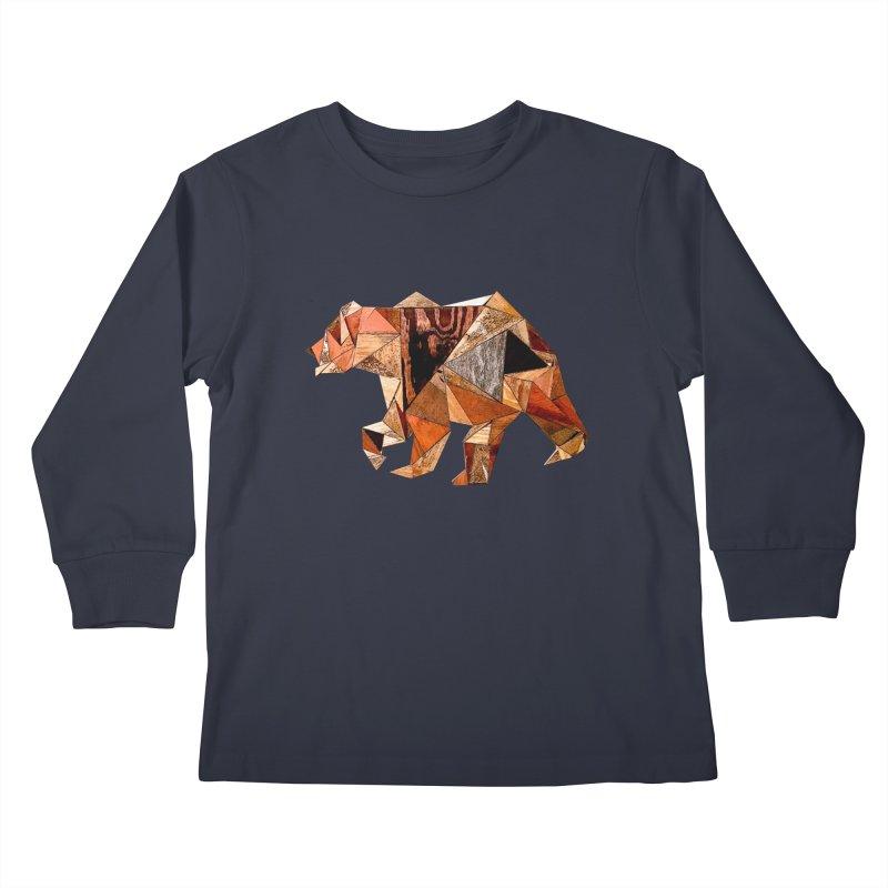Bear Walking In The Wood Kids Longsleeve T-Shirt by Armando's Artist Shop