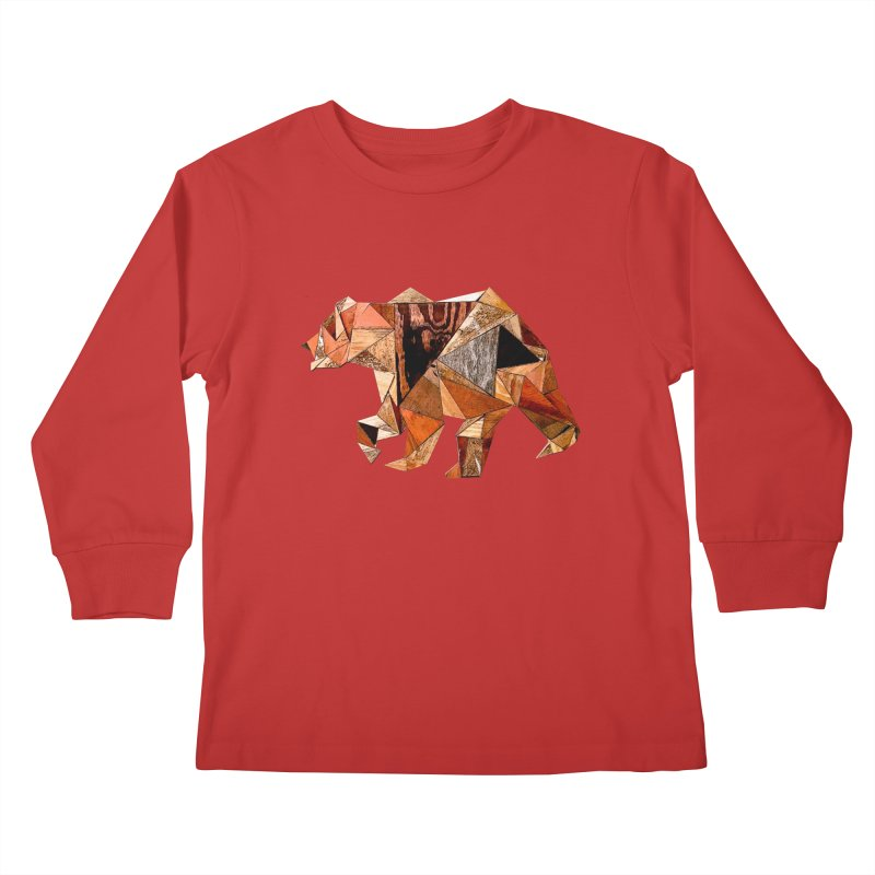 Bear Walking In The Wood Kids Longsleeve T-Shirt by Armando's Artist Shop