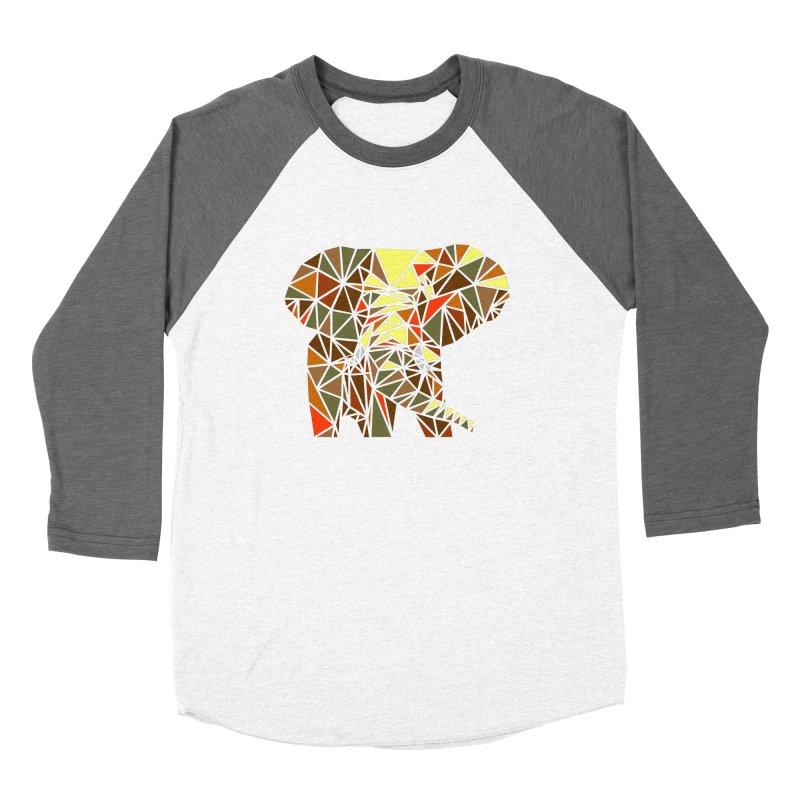 Patchwork Elephant Women's Baseball Triblend Longsleeve T-Shirt by Armando's Artist Shop