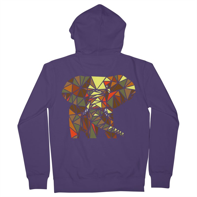 Patchwork Elephant Women's French Terry Zip-Up Hoody by Armando's Artist Shop