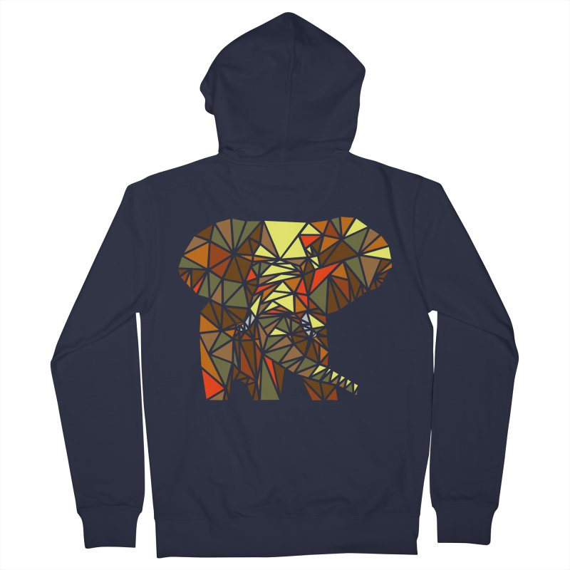 Patchwork Elephant Men's French Terry Zip-Up Hoody by Armando's Artist Shop