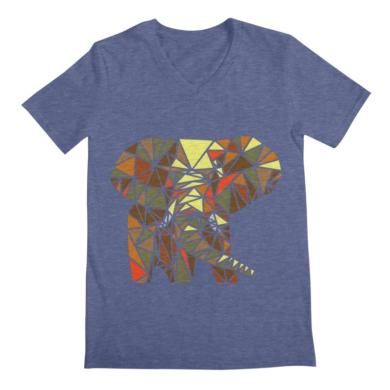 Patchwork Elephant Men's V-Neck by Armando's Artist Shop