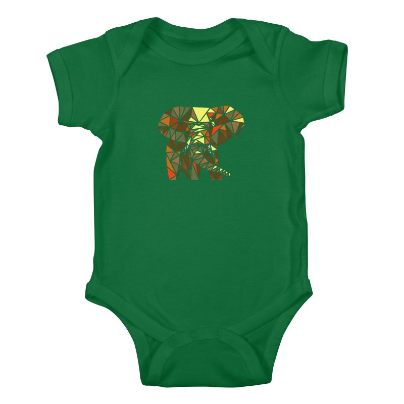 Patchwork Elephant Kids Baby Bodysuit by Armando's Artist Shop