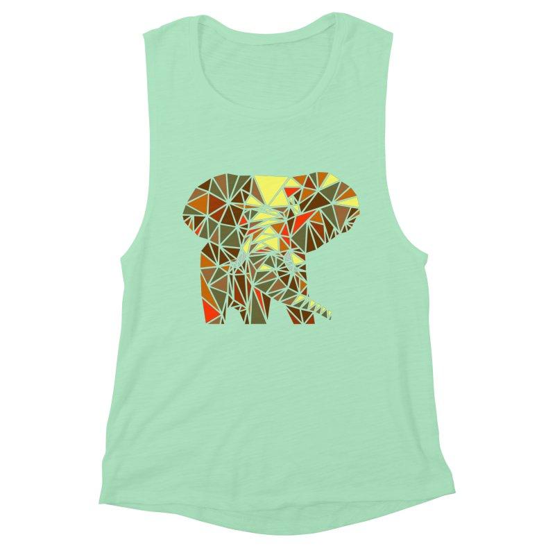 Patchwork Elephant Women's Muscle Tank by Armando's Artist Shop