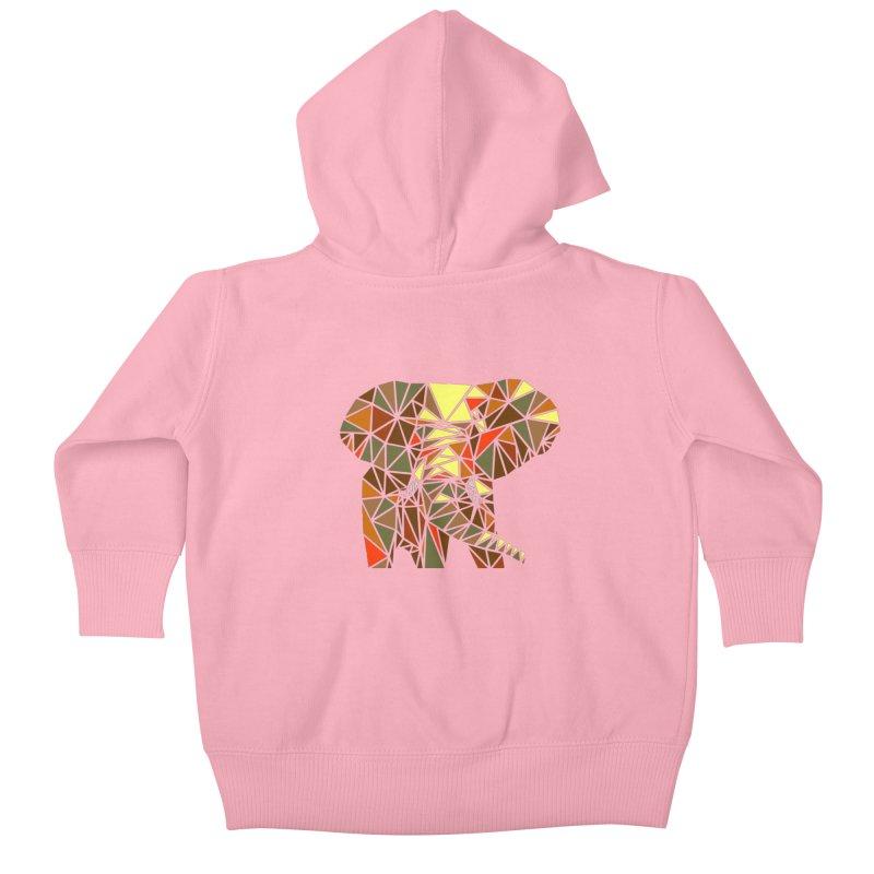 Patchwork Elephant Kids Baby Zip-Up Hoody by Armando's Artist Shop