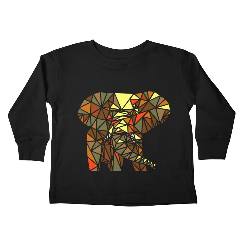 Patchwork Elephant Kids Toddler Longsleeve T-Shirt by Armando's Artist Shop