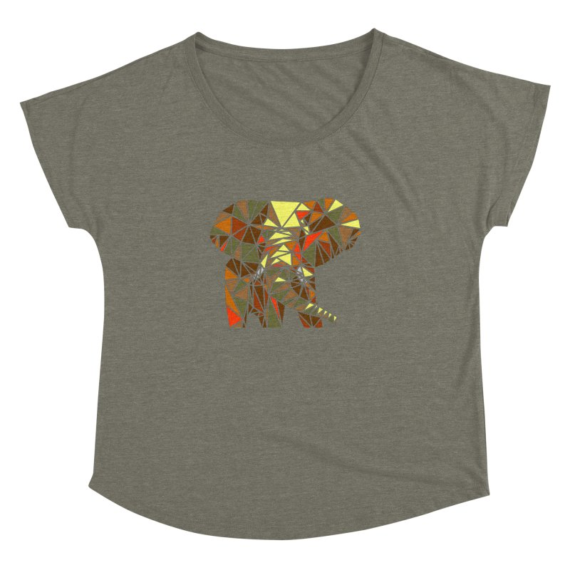 Patchwork Elephant Women's Dolman Scoop Neck by Armando's Artist Shop