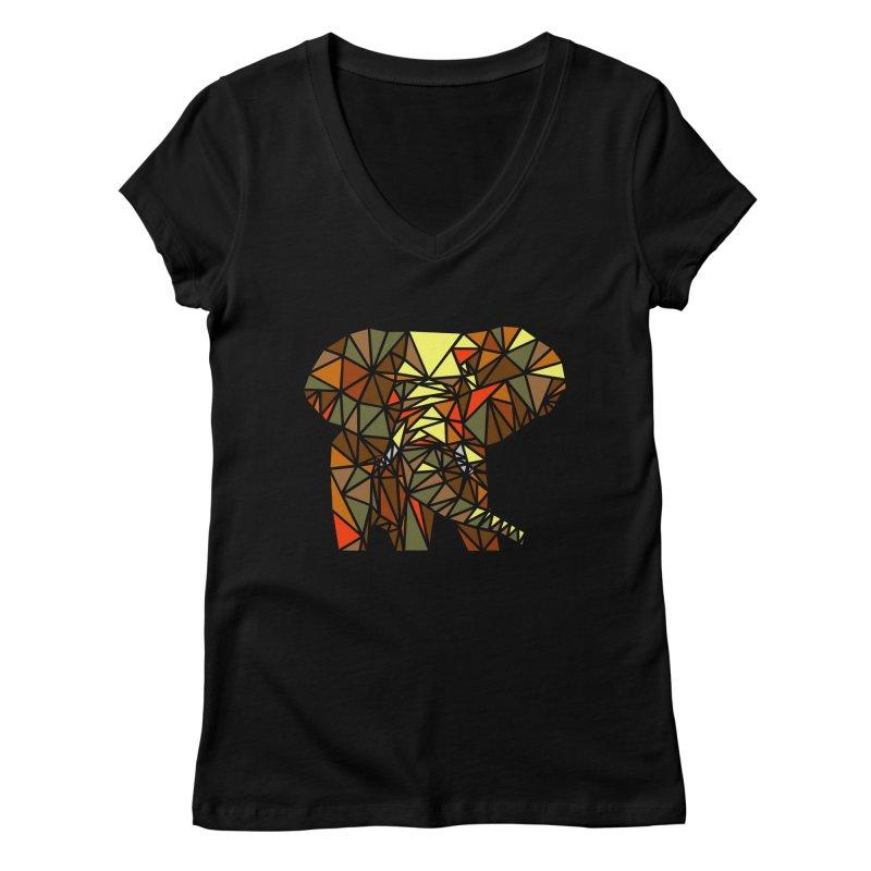 Patchwork Elephant Women's Regular V-Neck by Armando's Artist Shop