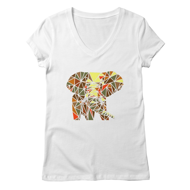 Patchwork Elephant Women's Regular V-Neck by Armando's Artist Shop