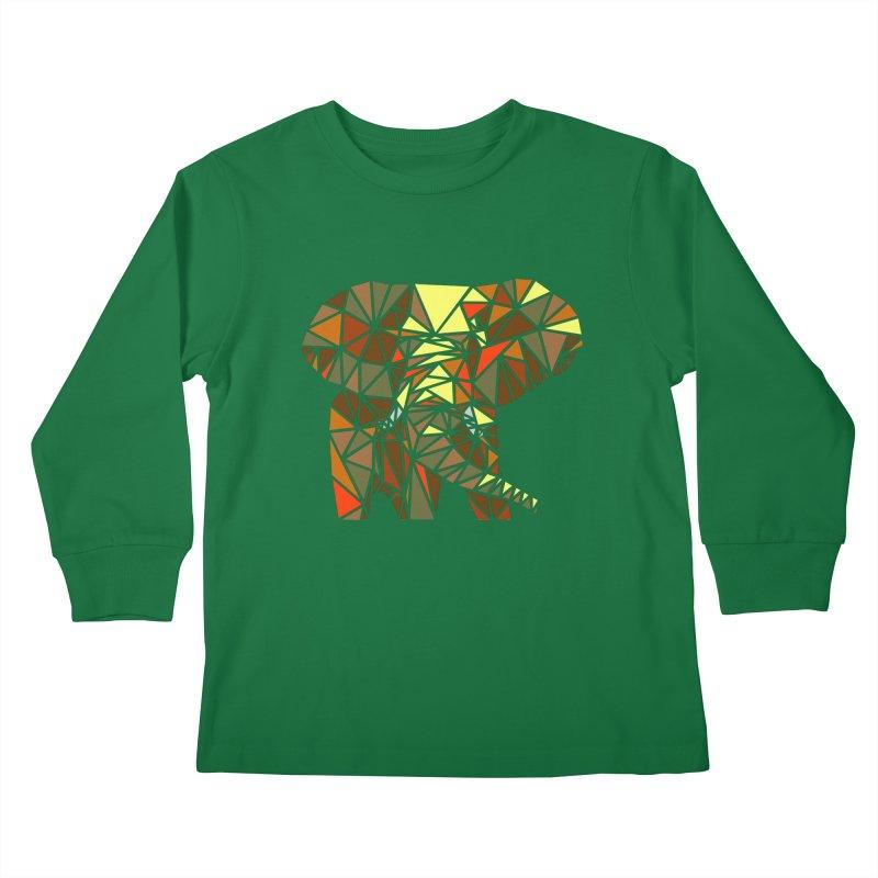 Patchwork Elephant Kids Longsleeve T-Shirt by Armando's Artist Shop