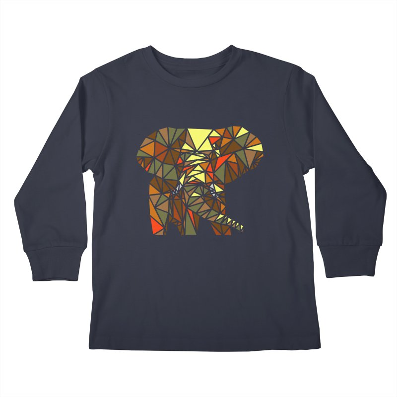 Patchwork Elephant Kids Longsleeve T-Shirt by Armando's Artist Shop