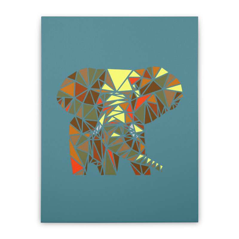Patchwork Elephant Home Stretched Canvas by Armando's Artist Shop
