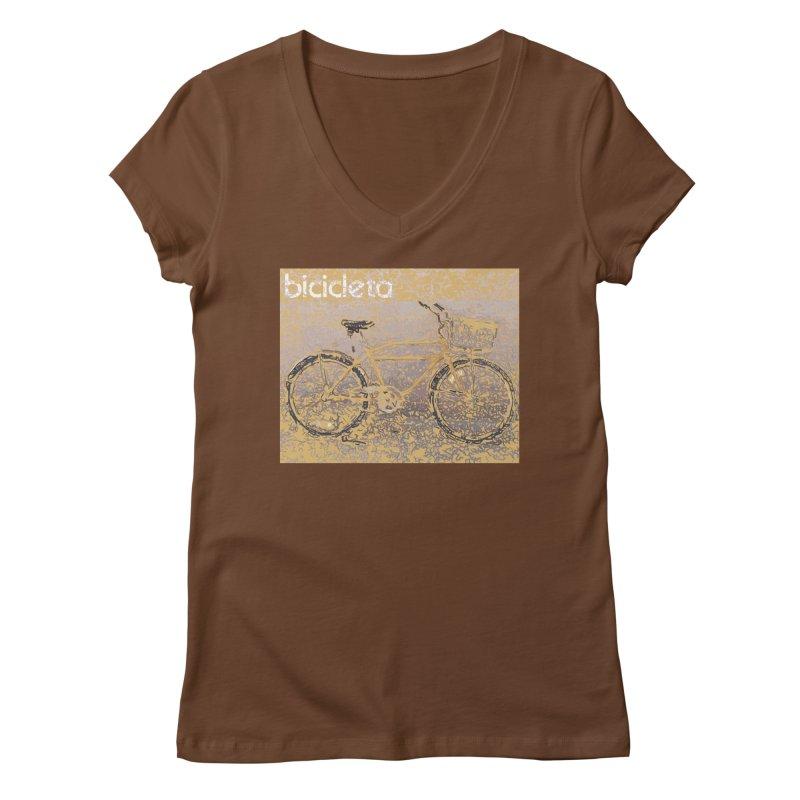 Bicicleta (Bicycle) Women's V-Neck by Armando's Artist Shop