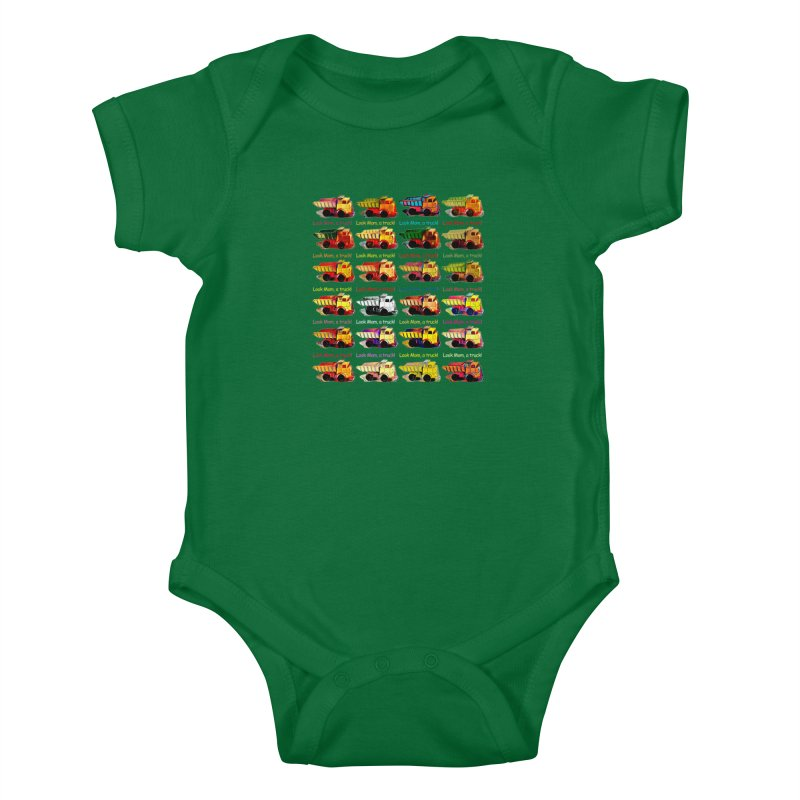 Look Mom, a truck! Kids Baby Bodysuit by Armando's Artist Shop