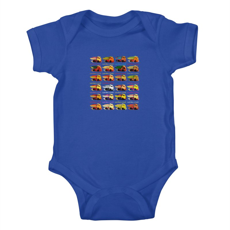 Look Mom, a truck! Kids Baby Bodysuit by Armando's Artist Shop