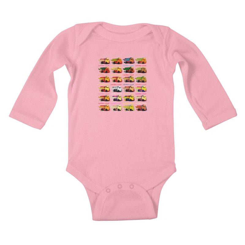 Look Mom, a truck! Kids Baby Longsleeve Bodysuit by Armando's Artist Shop
