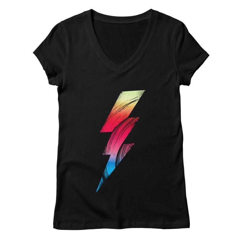 Neon Lightning Women's V-Neck by Arrivesatten Artist Shop