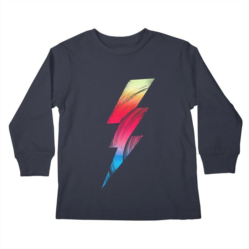 Neon Lightning Kids Longsleeve T-Shirt by Arrivesatten Artist Shop