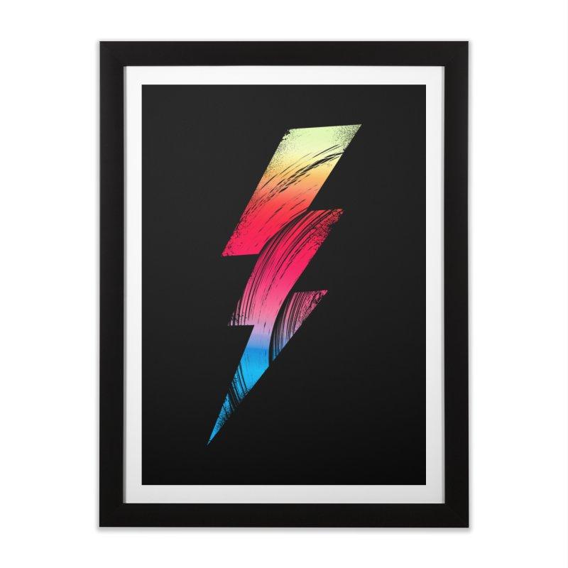Neon Lightning Home Framed Fine Art Print by Arrivesatten Artist Shop