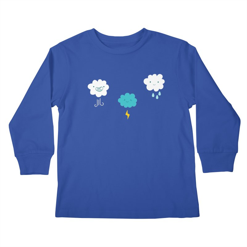 Three Totally Normal Clouds Kids Longsleeve T-Shirt by My Shirty Life