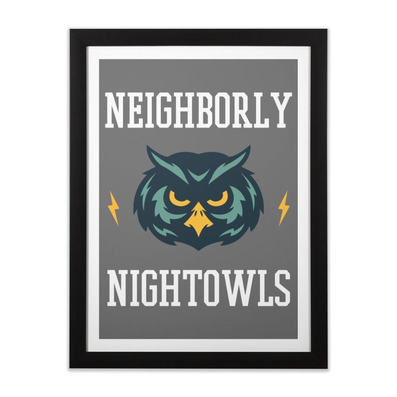 Neighborly Nightowls Home Framed Fine Art Print by My Shirty Life