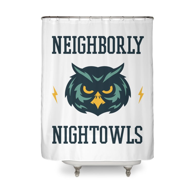 Neighborly Nightowls Home Shower Curtain by My Shirty Life