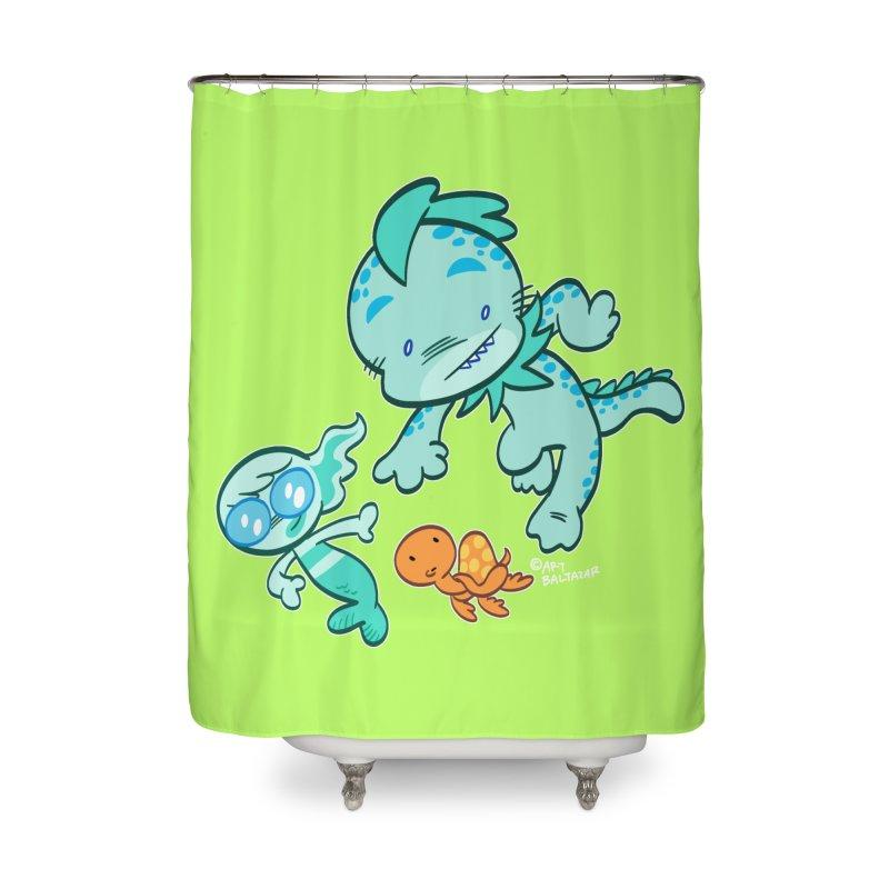 GILLBERT the Little MERMAN & Friends Home Shower Curtain by Art Baltazar