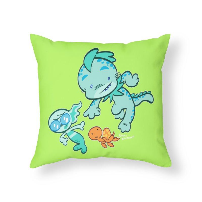 GILLBERT the Little MERMAN & Friends Home Throw Pillow by Art Baltazar
