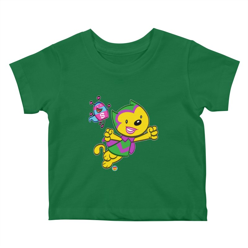 ACTION CAT & SHELLY Kids Baby T-Shirt by Art Baltazar