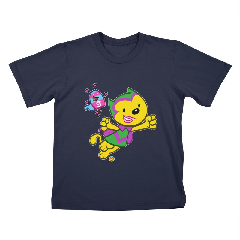 ACTION CAT & SHELLY Kids T-Shirt by Art Baltazar