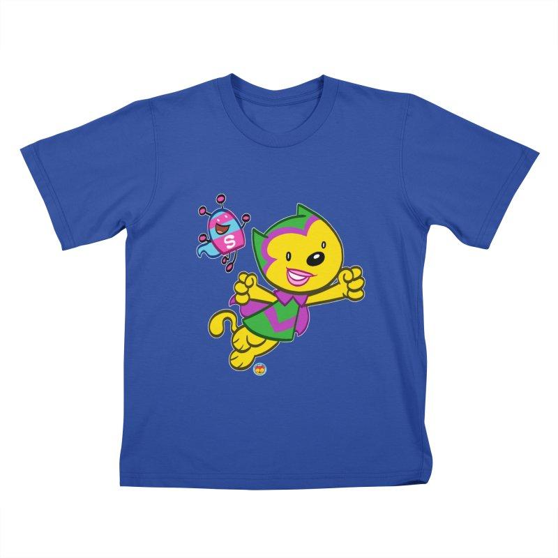 ACTION CAT & SHELLY Kids T-Shirt by Art Baltazar