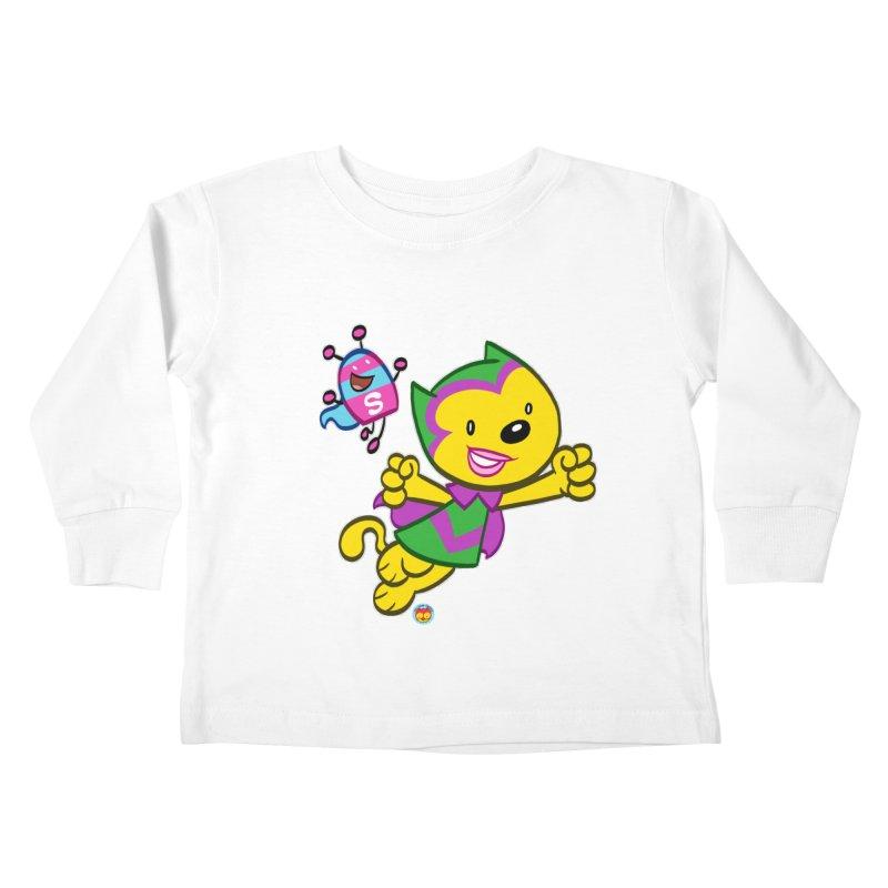 ACTION CAT & SHELLY Kids Toddler Longsleeve T-Shirt by Art Baltazar