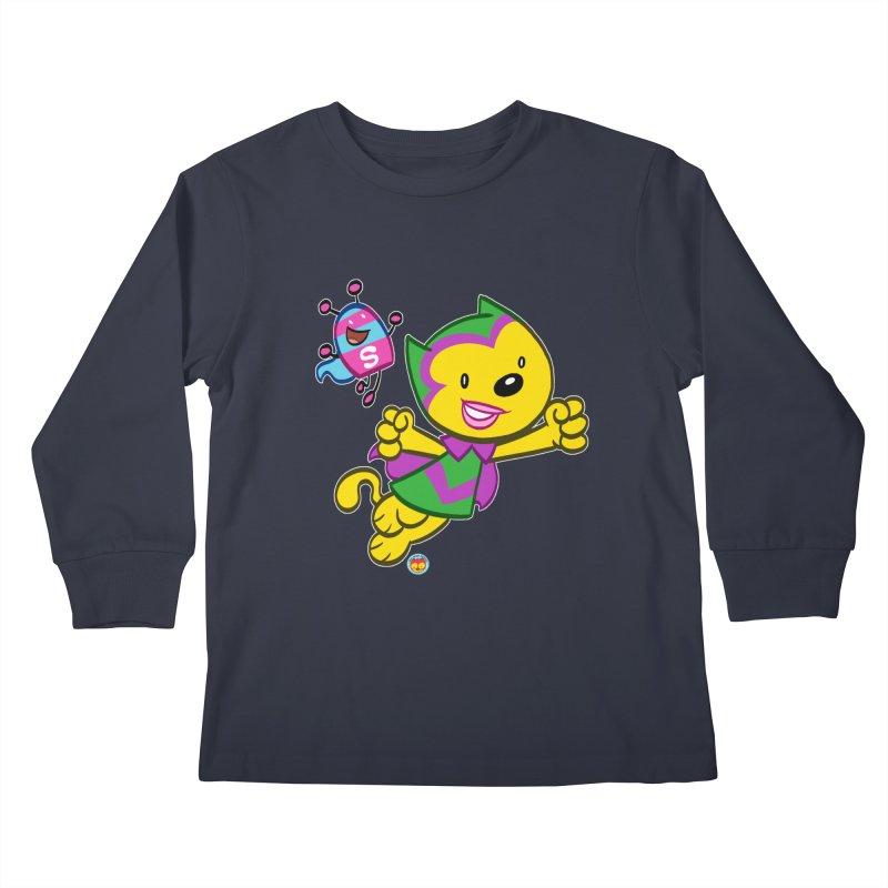 ACTION CAT & SHELLY Kids Longsleeve T-Shirt by Art Baltazar