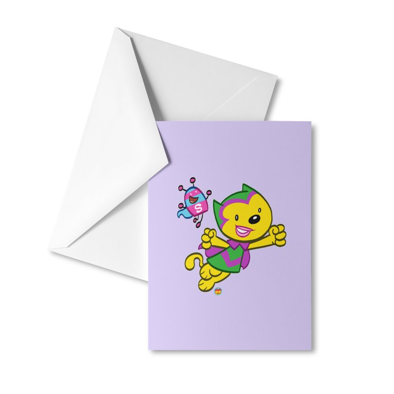ACTION CAT & SHELLY Accessories Greeting Card by Art Baltazar