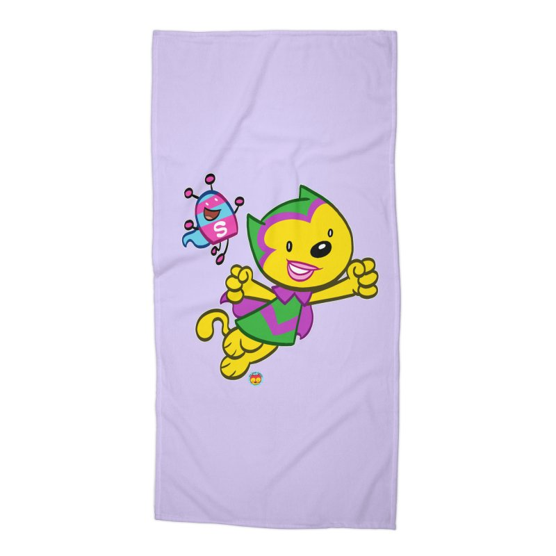 ACTION CAT & SHELLY Accessories Beach Towel by Art Baltazar